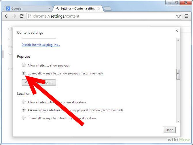 Bloccare i pop up con Google Chrome